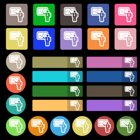 sign making: businessman making report icon sign. Set from twenty seven multicolored flat buttons. Vector illustration
