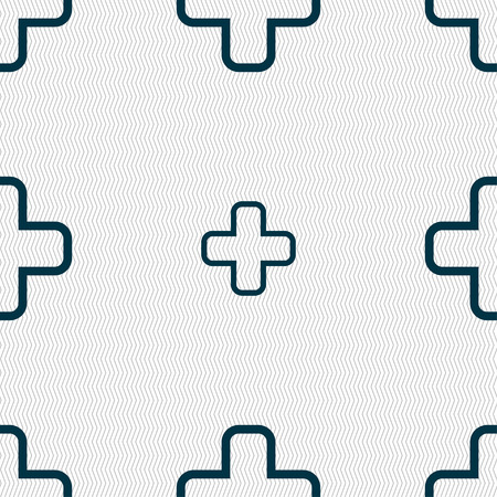 plus icon: Plus icon sign. Seamless pattern with geometric texture. Vector illustration