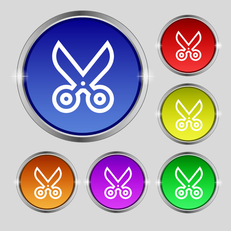 disclosed: scissors icon sign. Round symbol on bright colourful buttons. Vector illustration Illustration