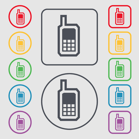 mobile phone icon: Mobile phone icon sign. symbol on the Round and square buttons with frame. Vector illustration