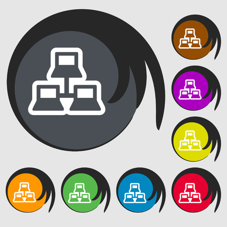local area network icon sign. Symbol on eight colored buttons. Vector illustration