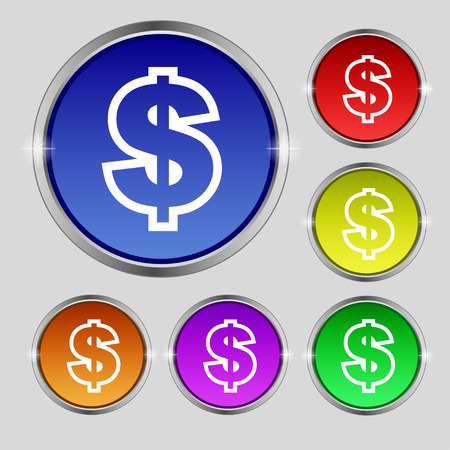 debt collection: Dollar icon sign. Round symbol on bright colourful buttons. Vector illustration