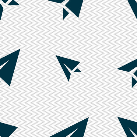paper airplane: Paper airplane icon sign. Seamless pattern with geometric texture. Vector illustration
