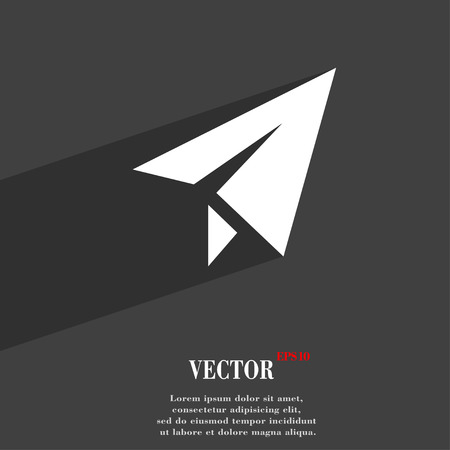 paper airplane: Paper airplane icon symbol Flat modern web design with long shadow and space for your text. Vector illustration Illustration