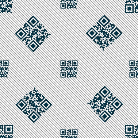 Qr code icon sign. Seamless pattern with geometric texture. Vector illustration