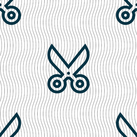 ciach: scissors icon sign. Seamless pattern with geometric texture. Vector illustration