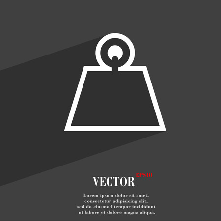 cast iron: Weight icon symbol Flat modern web design with long shadow and space for your text. Vector illustration