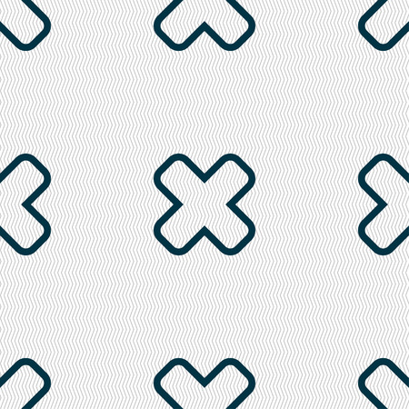 dismiss: Cancel icon sign. Seamless pattern with geometric texture. Vector illustration