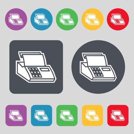 checkout line: Cash register machine icon sign. A set of 12 colored buttons. Flat design. Vector illustration