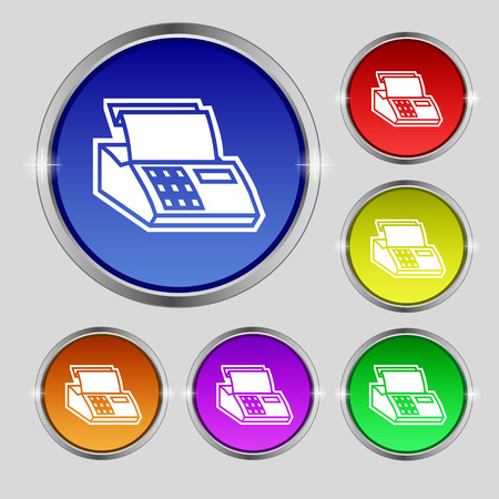 checkout line: Cash register machine icon sign. Round symbol on bright colourful buttons. Vector illustration