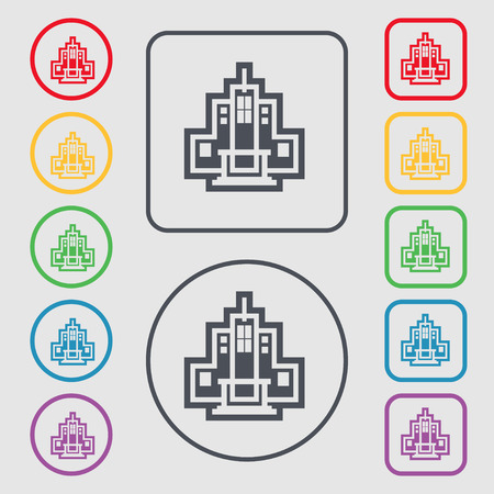 headquarter: skyscraper icon sign. symbol on the Round and square buttons with frame. Vector illustration Illustration