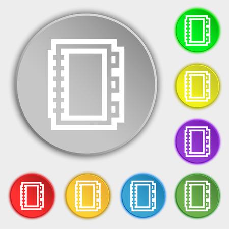 epublishing: Book icon sign. Symbol on eight flat buttons. Vector illustration Illustration