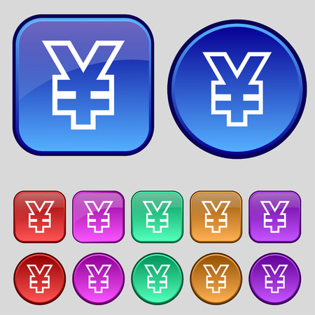 jpy: Yen JPY icon sign. A set of twelve vintage buttons for your design. Vector illustration