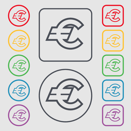eur: Euro EUR icon sign. symbol on the Round and square buttons with frame. Vector illustration