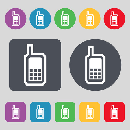 mobile phone icon: Mobile phone icon sign. A set of 12 colored buttons. Flat design. Vector illustration Illustration