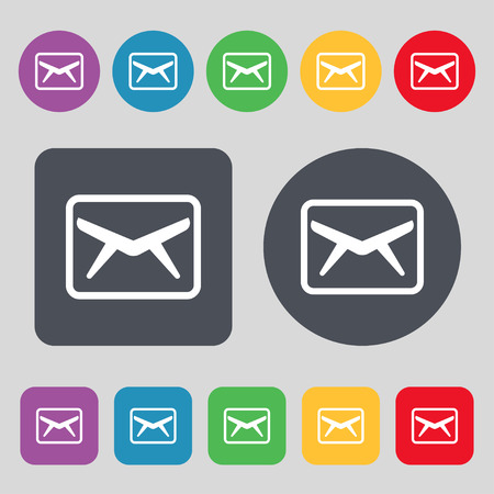 Mail, Envelope, Message icon sign. A set of 12 colored buttons. Flat design. Vector illustration