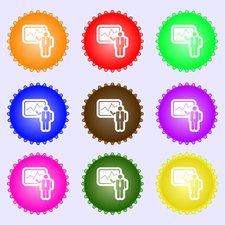 sign making: businessman making report icon sign. A set of nine different colored labels. Vector illustration