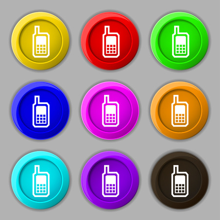 mobile phone icon: Mobile phone icon sign. symbol on nine round colourful buttons. Vector illustration Illustration
