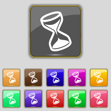 metering: hourglass icon sign. Set with eleven colored buttons for your site. Vector illustration