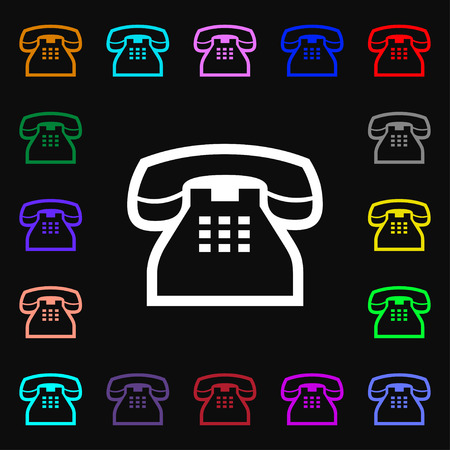 tel: retro telephone handset icon sign. Lots of colorful symbols for your design. Vector illustration