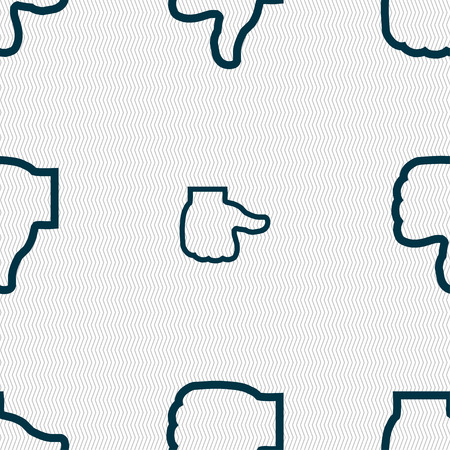 dislike: Dislike icon sign. Seamless pattern with geometric texture. Vector illustration