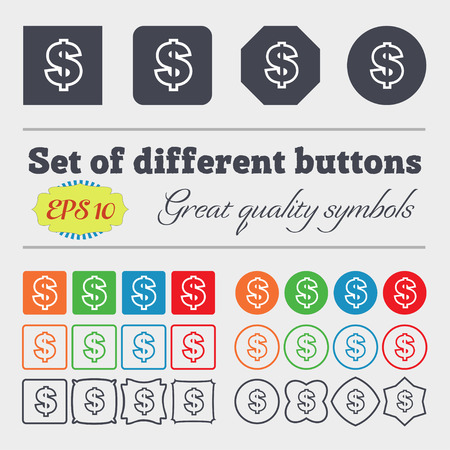 debt collection: Dollar icon sign. Big set of colorful, diverse, high-quality buttons. Vector illustration