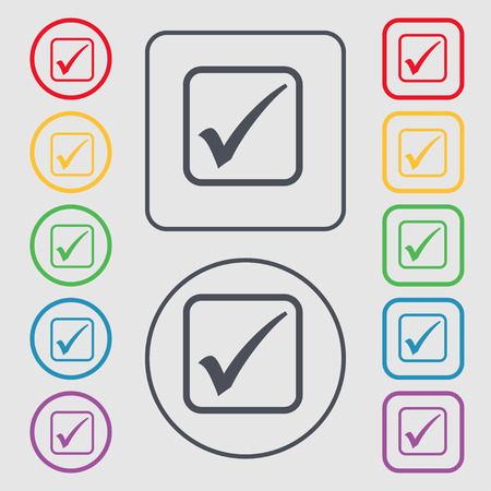A check mark icon sign. symbol on the Round and square buttons with frame. Vector illustration