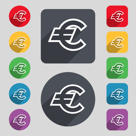 eur: Euro EUR icon sign. A set of 12 colored buttons and a long shadow. Flat design. Vector illustration
