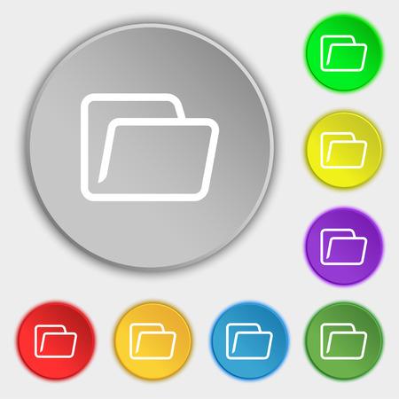folder icon: Folder icon sign. Symbol on eight flat buttons. Vector illustration Illustration