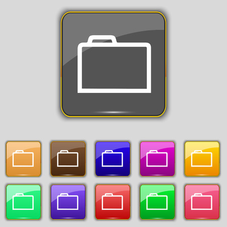 map case: Folder icon  sign. Set with eleven colored buttons for your site. Vector illustration
