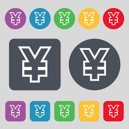jpy: Yen JPY icon sign. A set of 12 colored buttons. Flat design. Vector illustration