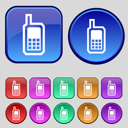 mobile phone icon: Mobile phone icon sign. A set of twelve vintage buttons for your design. Vector illustration Illustration