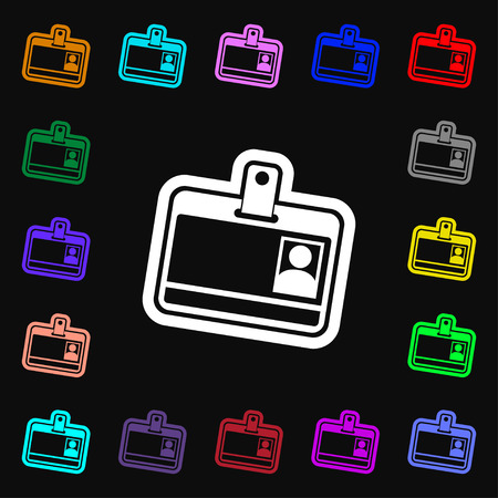 recognizing: Id card icon sign. Lots of colorful symbols for your design. Vector illustration