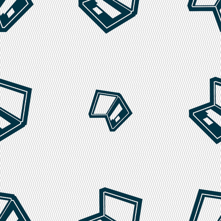 laptop icon: Laptop icon sign. Seamless pattern with geometric texture. Vector illustration Illustration