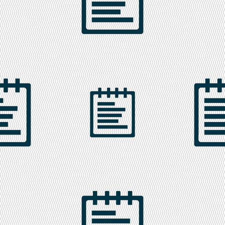 message pad: Notepad icon sign. Seamless pattern with geometric texture. Vector illustration