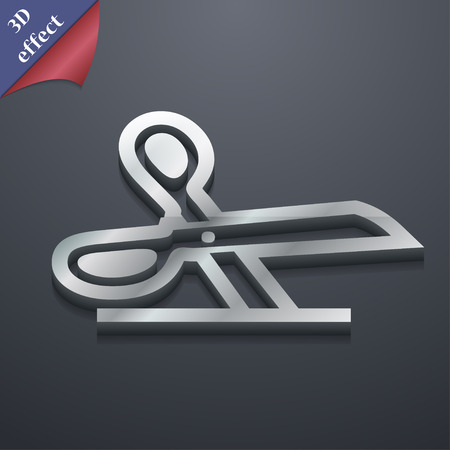 disclosed: scissors icon symbol. 3D style. Trendy, modern design with space for your text Vector illustration
