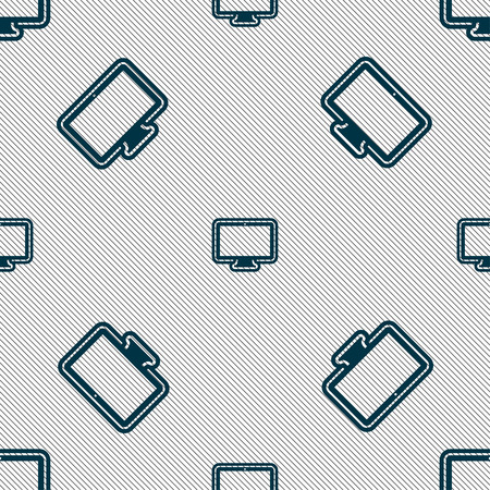 oled: monitor icon sign. Seamless pattern with geometric texture. Vector illustration
