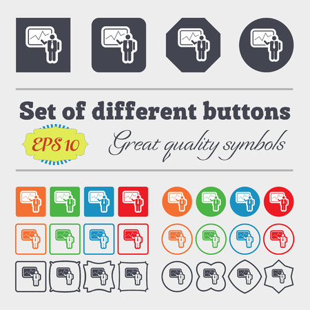 making: businessman making report icon sign. Big set of colorful, diverse, high-quality buttons. Vector illustration