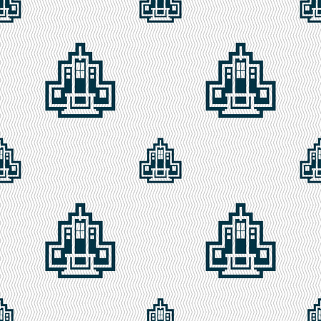 residential neighborhood: skyscraper icon sign. Seamless pattern with geometric texture. Vector illustration