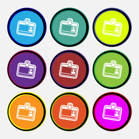recognizing: Id card icon sign. Nine multi colored round buttons. Vector illustration
