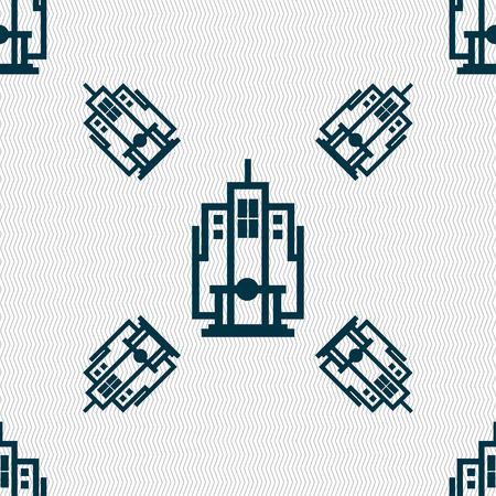 midtown: skyscraper icon sign. Seamless pattern with geometric texture. Vector illustration