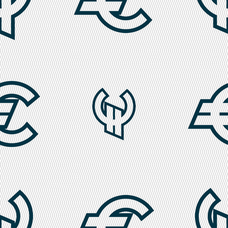 eur: Euro EUR icon sign. Seamless pattern with geometric texture. Vector illustration Illustration