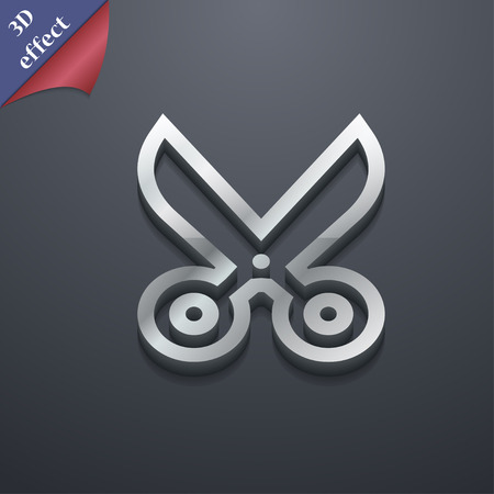 snip: scissors icon symbol. 3D style. Trendy, modern design with space for your text Vector illustration