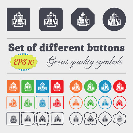 residential neighborhood: skyscraper icon sign. Big set of colorful, diverse, high-quality buttons. Vector illustration