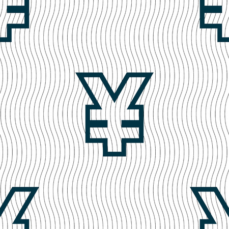 jpy: Yen JPY icon sign. Seamless pattern with geometric texture. Vector illustration Illustration