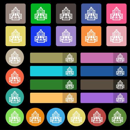 midtown: skyscraper icon sign. Set from twenty seven multicolored flat buttons. Vector illustration Illustration