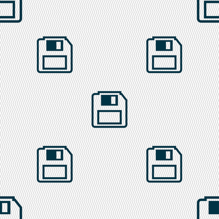 old pc: floppy disk icon sign. Seamless pattern with geometric texture. Vector illustration