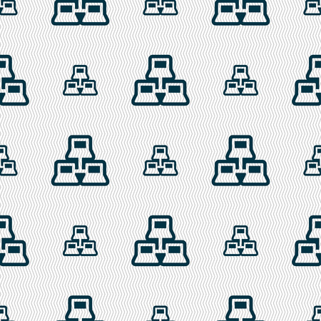 adapter: local area network icon sign. Seamless pattern with geometric texture. Vector illustration