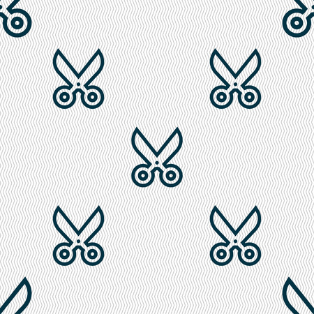 disclosed: scissors icon sign. Seamless pattern with geometric texture. Vector illustration