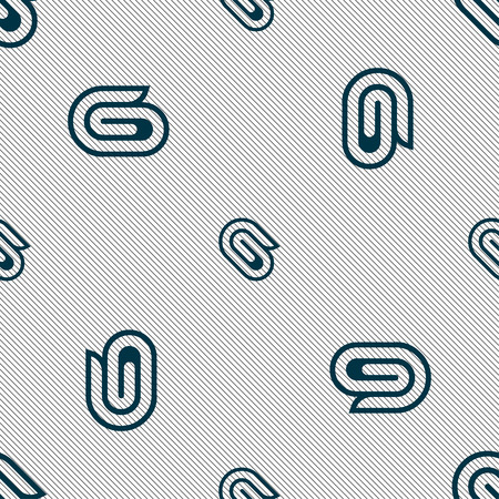 paper clip icon sign. Seamless pattern with geometric texture. Vector illustration